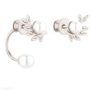 Asymetryczne kolczyki gałązki z różowego złota perłami