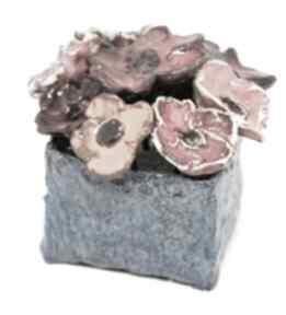 Kwiaty ceramiczne piękny duży wyjątkowy komplet z boxem rozmiar