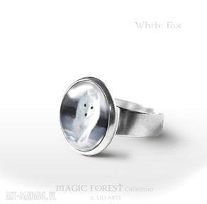Pierścionek - biały lis liliarts pierścionek, lis, lisek, pies