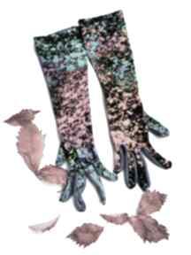 Rękawiczki dzininowe dwukolorowe printy długość 30cm bez palców