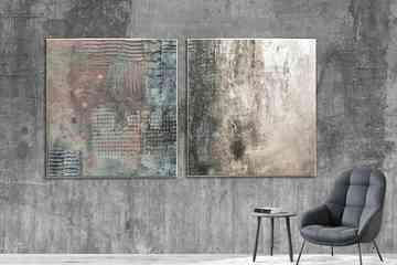 Kontrast i złoty dyptyk - obraz na płótnie art and texture modne