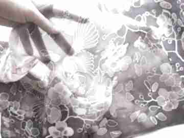 Ciemny szal jedwabny z kwiatami wiśni chustki i apaszki minkulul