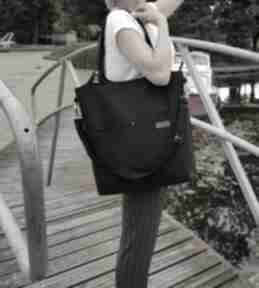 Duża torba - czarna plecionka na ramię musslico torba, shoperka