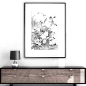 Renata Bulkszas! Grafika w ramie Motyle i polne kwiaty 30x40