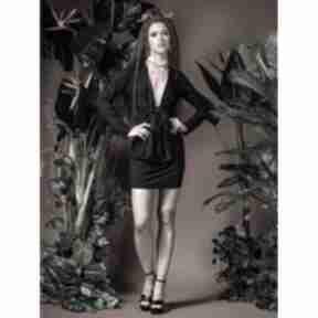 Eliza black - sukienka mini z głębokim dekoltem sukienki milita