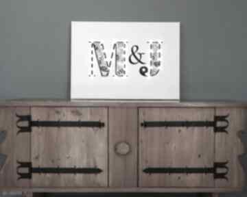 Obraz led z inicjałami, literami, prezent dla młodej pary