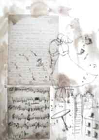 """""""wielka miłość"""" collage z użyciem starego listu miłosnego i nut"""