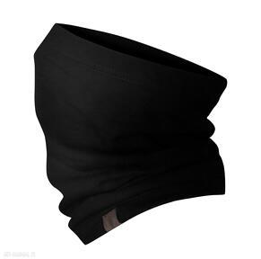 Jesienno-zimowy kominek, wzorzysta komino-maska czarny damski