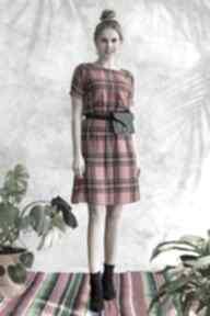 Sukienka w szkocką kratkę sukienki hanka sukienka, midi, wiskoza