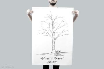Plakat drzewo wpisów 60x90 cm 3 tusze księgi gości kreatywne