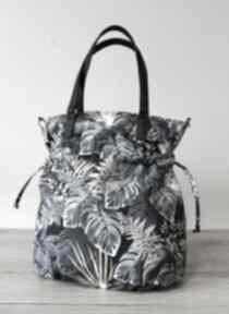 Shopper bag sack - monstery czarno-złote na ramię torebki