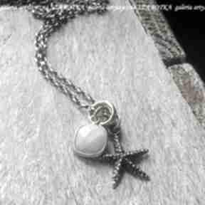 Morza szum naszyjnik z opala i srebra naszyjniki szarotka opal