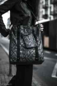 Duża torba shopper niebieski wąż na ramię tasiemasie nerki