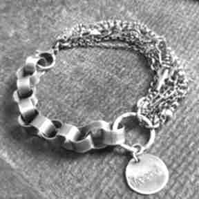 Bransoletka srebrna treendy srebro, srebro oksydowane, biżuteria