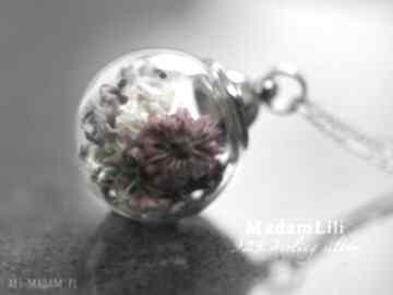 925 srebrny łańcuszek bukiet kwiatów kwiaty natura medalion mech