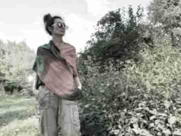 Wełniany szal green&orange szaliki anna damzyn szal, wełna, dzianina, unikat, zimowy,
