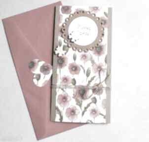 Kartka ślubna:: kwiaty polne:: slim ii:: maki kartki kaktusia