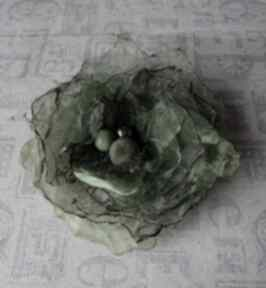 Zielona broszki judithbijoux broszka, brocha, organza, ozdoba