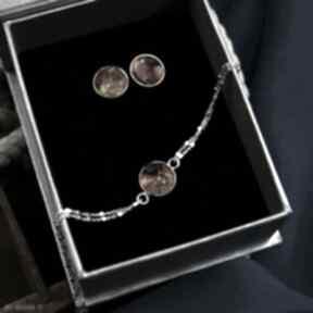 Komplet biżuterii z bursztynem: bransoletka i sztyfty srebro
