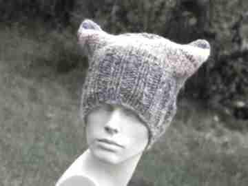 Czapa rogaty melanż czapki aga made by hand kolorowa czapka