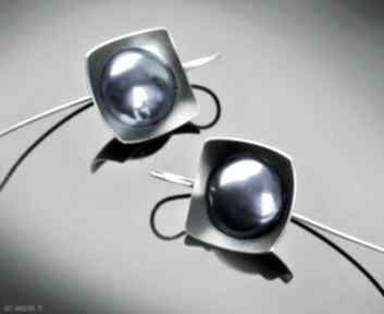 Srebrne kolczyki z tytanem, geometryczne eleganckie shambala