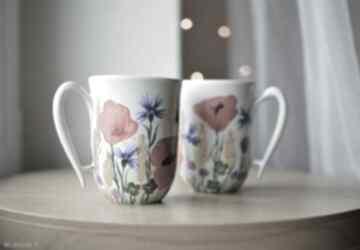 Kubki dla pary ręcznie malowane łąka ciepliki pary