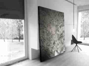 Efektowny metaliczny obraz do salonu grubo fakturowany art and