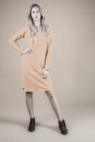 Sukienka klasyczna z przeszyciem-musztardowa sukienki trzyforu
