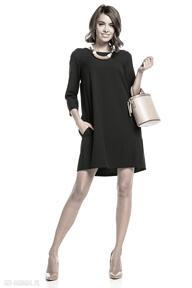 Sukienka marszczona na plecach z kieszeniami, t326, czarna