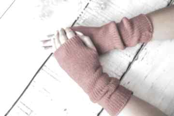 Mitenki jasnoczerwone rękawiczki hermina wełniane, rękawiczki