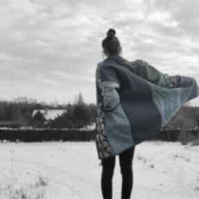 Płaszcz patchworkowy długi z kieszeniami - w stylu boho