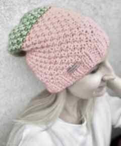 Czapki the wool art neonowa czapka, na drutach, ciepła