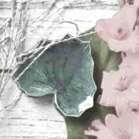 Turkusowo-zielony listek ceramika badura patera ceramiczna