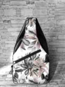 Plecak dwukomorowy ekoskóra handmade na jedno ramię granat