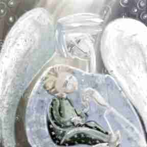 Anioł stróż z dzieckiem marina czajkowska anioł, dom, na-ścianę