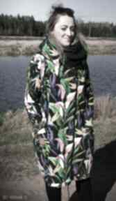 Długa bluza oversize w egzotyczne kwiaty kalia s bluzy agagu