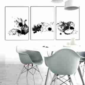 Owocowy tryptyk na ścianę parallel world grafika, owoce, tryptyk