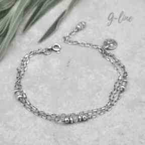 Delikatna srebrna bransoletka z kamieniem księżycowym grey line