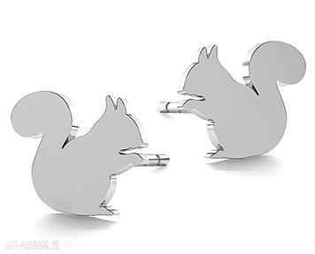 Srebrne małe kolczyki wiewiórka wiewiórki pracownia tanat