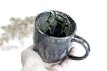 Handmade ceramiczny kubek z koniem - niebiesko zielony 420 ml