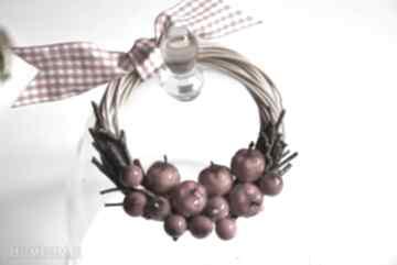 Dekoracje wooden love wianek, miniwianek, owoce, jabłko,