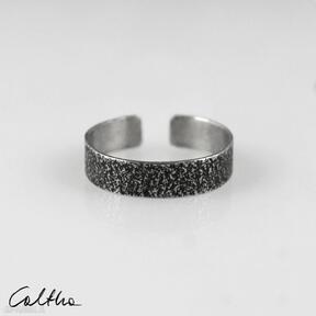 Piasek - srebrna obrączka 191020 -06 obrączki caltha pierścionek