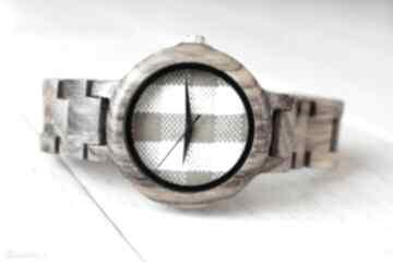 Damski drewniany zegarek seria full wood kratka zegarki ekocraft