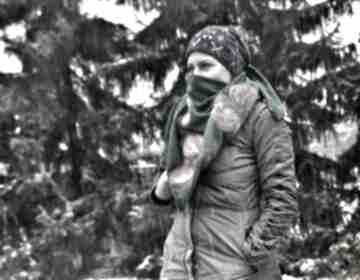 Ruda Klara Zielona /turkusowa ciemna chusta handmade wełniana