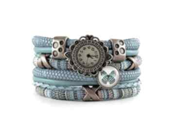 Zegarek - bransoletka w stylu boho, z zawieszką zegarki megi
