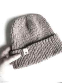 Ręcznie robiona czapka hand made alpaka air stary róż czapki