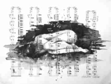 """""""kiedy przenika tylko muzyka"""" akwarela na papierze z nutami"""
