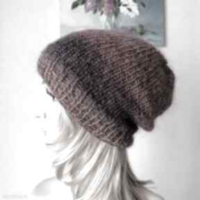 Z żurawiną puszysta, ciepła, czapka klasyczny fason czapki