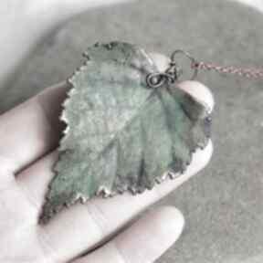 Liść brzozy - naszyjnik z prawdziwym liściem naszyjniki