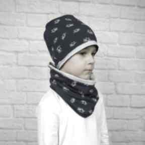 Cienka czapka komiin dla chłopca komin szal chłopak wiosenny
